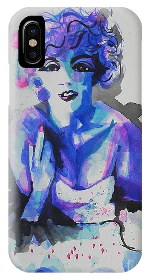 Watercolor Painting IPhone X Case featuring the painting Marilyn Monroe 03 by Chrisann Ellis