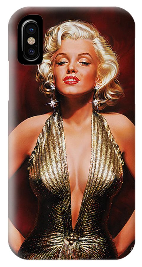 Portrait IPhone X Case featuring the painting Marilyn Monroe by Dick Bobnick