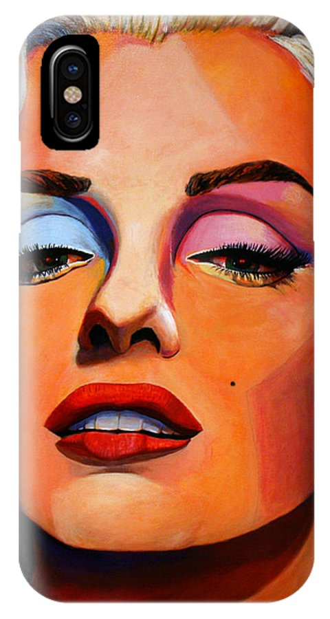 Marilyn Monroe IPhone X Case featuring the painting Marilyn Monroe by Sue Riley