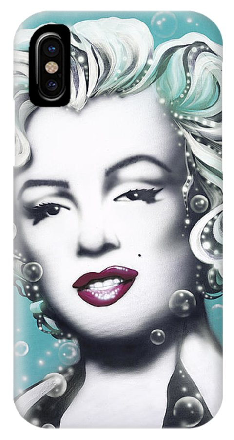 Marilyn Monroe IPhone X Case featuring the painting Marilyn Monroe Turquoise by Alicia Hayes