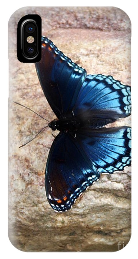 Butterfly IPhone X Case featuring the photograph Mariposa Azul by Jannice Walker