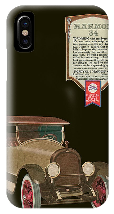 '20's IPhone X Case featuring the drawing Marmon 34 - Vintage Poster by World Art Prints And Designs