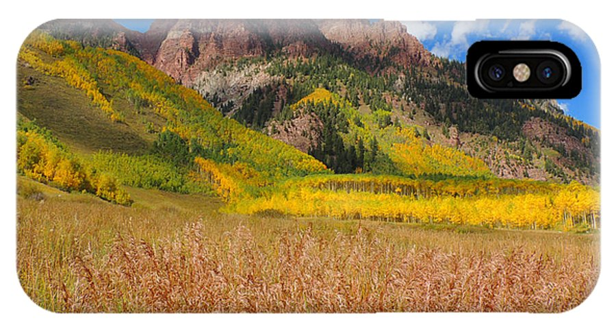 Aspen IPhone X Case featuring the photograph Maroon Bells In Full Color by Steve Anderson