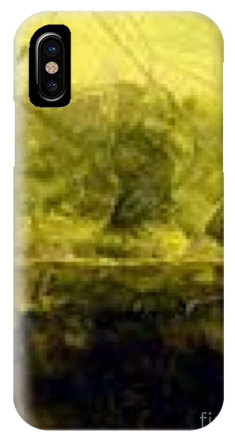 Land IPhone X Case featuring the painting Marsh Under by Linda Collins lamb