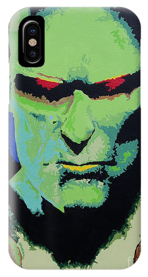 Martian IPhone X Case featuring the painting Martian Manhunter - A Close Encounter by Kelly Hartman