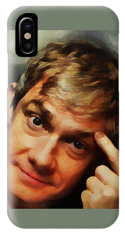 Actors IPhone X Case featuring the painting Martin Freeman by Janice MacLellan