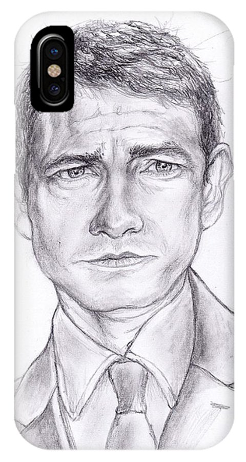 Graphite IPhone X Case featuring the drawing Martin Freeman by William Heflin