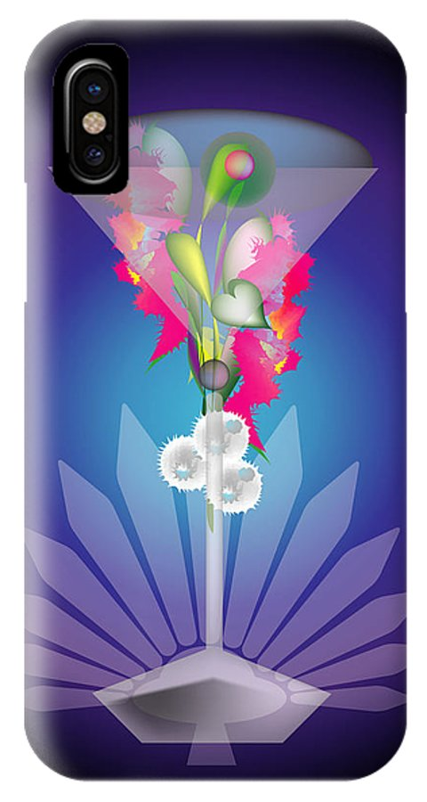 Martini IPhone X Case featuring the digital art Martini Flower by George Pasini