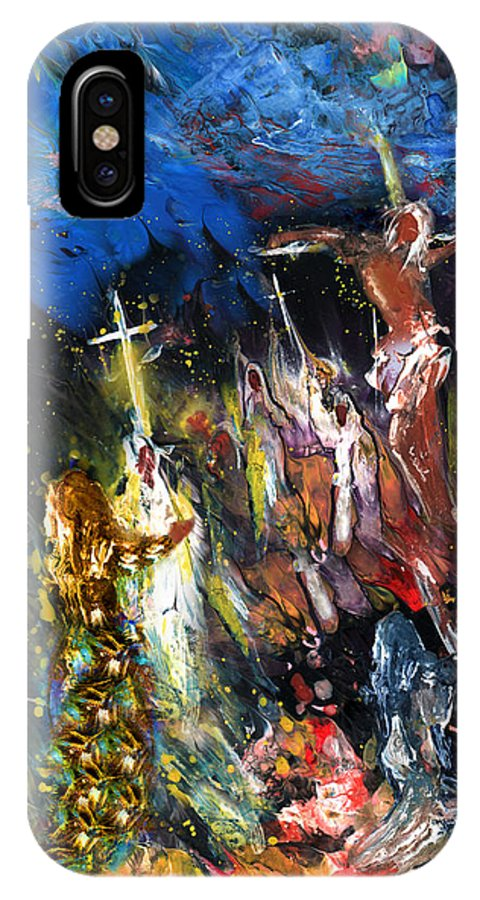 Fantasy IPhone X Case featuring the painting Mary Magdalene At The Cross by Miki De Goodaboom