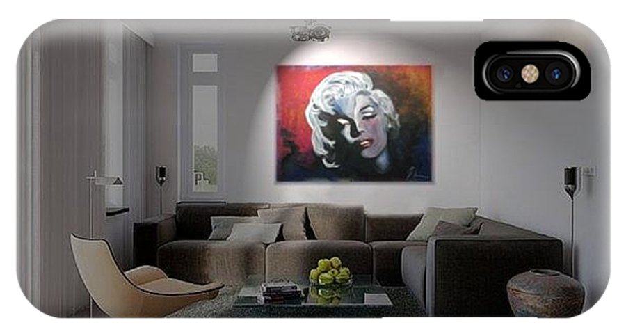 Marilyn Monroe IPhone X Case featuring the painting Marylin Monroe In The Living Room by Ri Mo