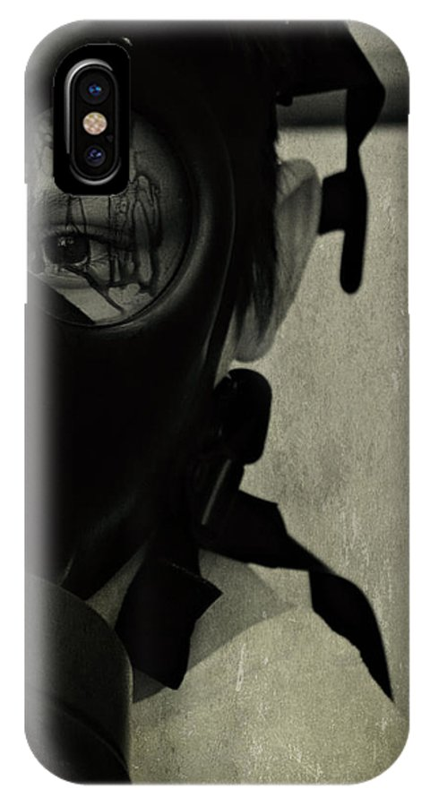 Gas Mask IPhone X Case featuring the photograph Masked by Ken Gehring