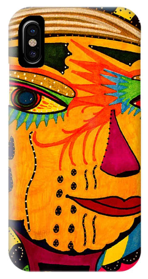 Mask IPhone X Case featuring the painting Masks We Wear - Face by Marie Jamieson