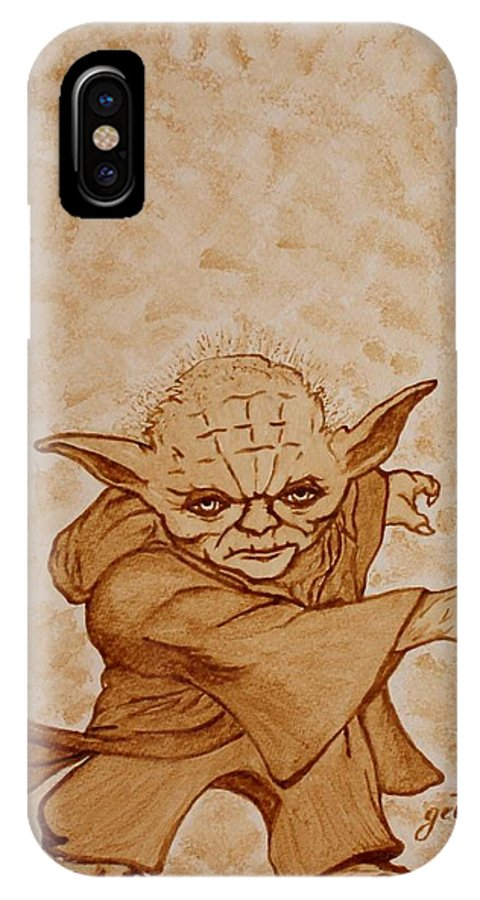 Master Joda IPhone X Case featuring the painting Master Yoda Jedi Fight Beer Painting by Georgeta Blanaru