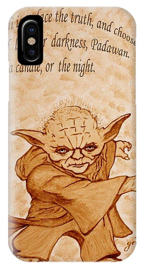 Master Yoda Sayings IPhone X Case featuring the painting Master Yoda Wisdom by Georgeta Blanaru