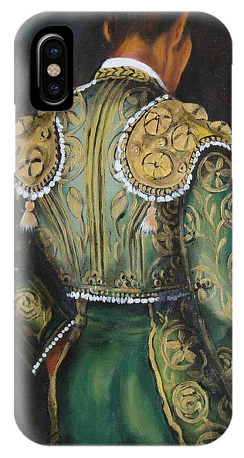 Matador IPhone X Case featuring the painting Matador In Green by Marlyn Anderson
