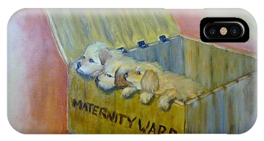 Puppies IPhone X Case featuring the painting Maternity Ward by Beverly Hanni