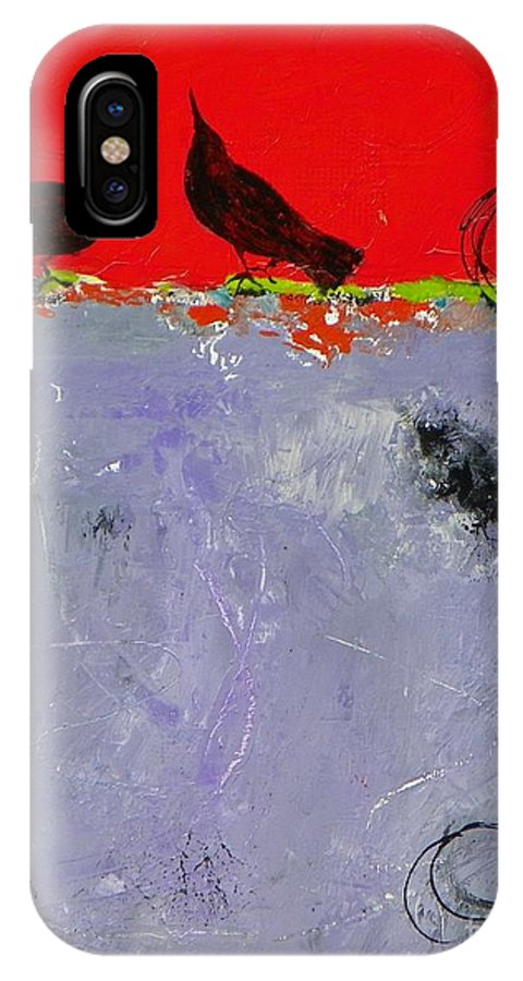 Abstract Expressionism IPhone X Case featuring the painting Mating Caw by Donna Frost