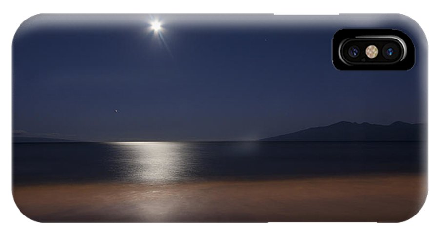 Moon IPhone X Case featuring the photograph Maui Moonset by Michael Yeager