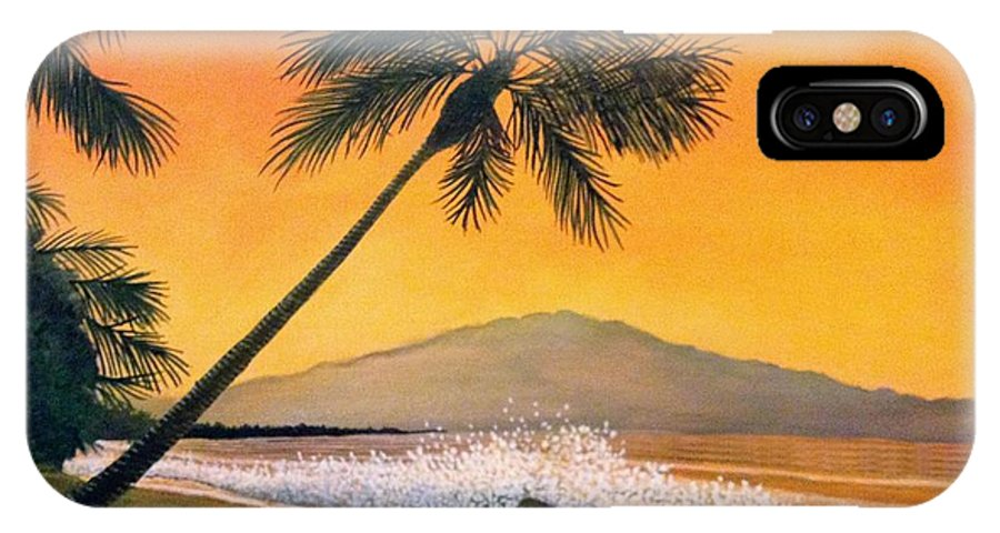 Rick Huotari IPhone X Case featuring the painting Maui Sunset by Rick Huotari