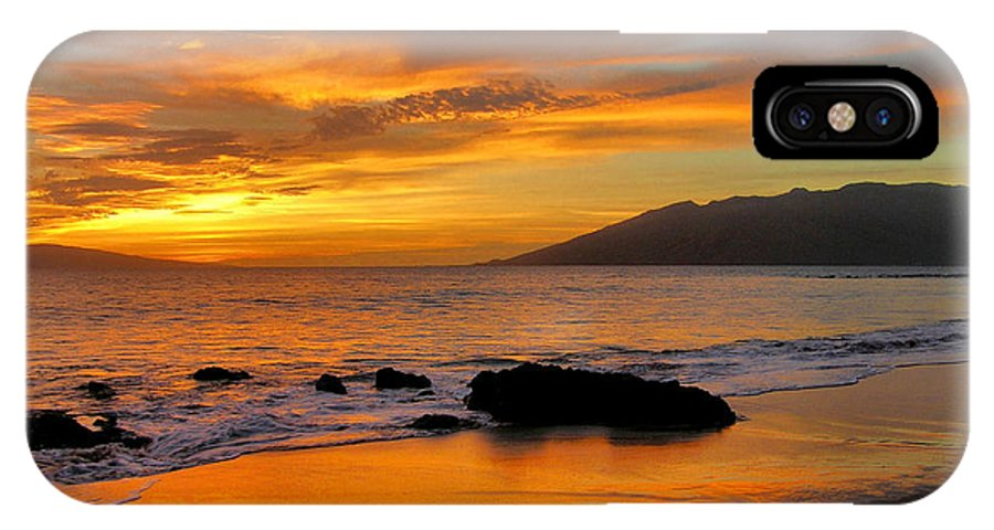 Sunset IPhone X Case featuring the photograph Maui Sunset by Stephen Vecchiotti