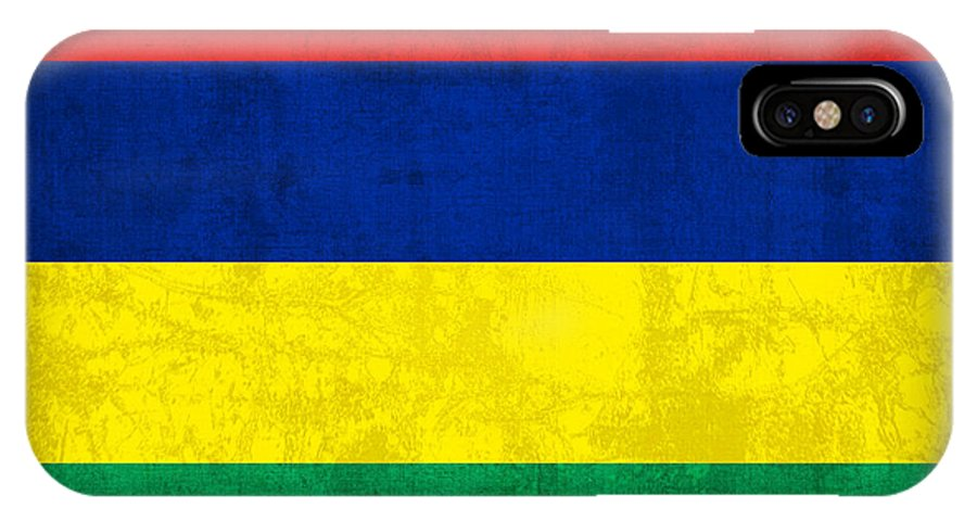 Mauritius IPhone X / XS Case featuring the mixed media Mauritius Flag Vintage Distressed Finish by Design Turnpike