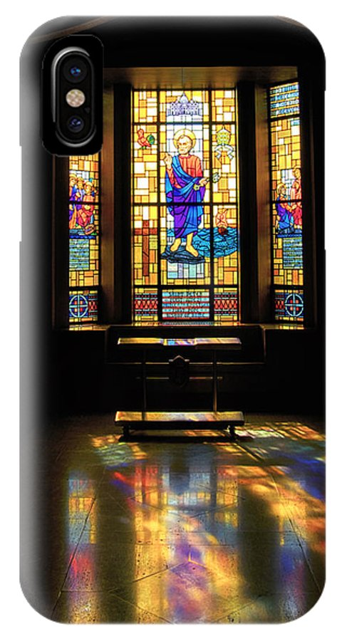 Glass Art IPhone X Case featuring the photograph Mausoleum Stained Glass 06 by Thomas Woolworth