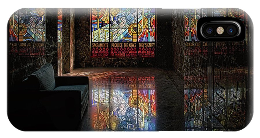 Glass Art IPhone X Case featuring the photograph Mausoleum Stained Glass 08 by Thomas Woolworth