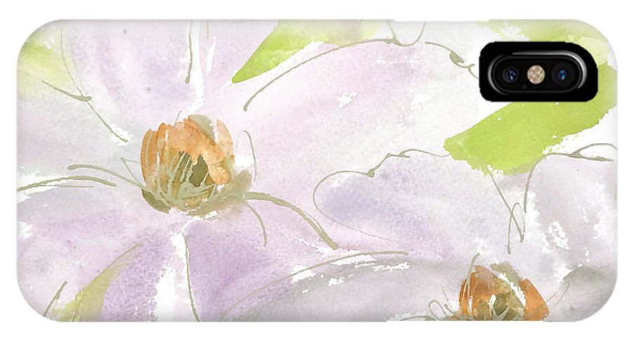 Original And Printed Watercolors IPhone X Case featuring the painting Mauve Clematis by Chris Paschke