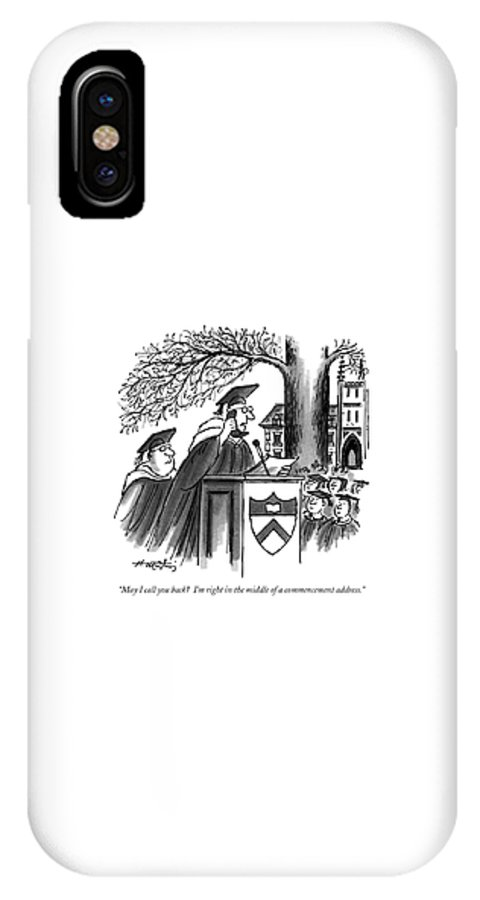 Trends IPhone X Case featuring the drawing May I Call You Back? I'm Right In The Middle by Henry Martin