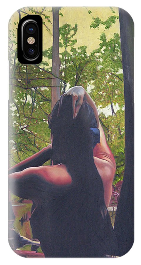 Figure IPhone X Case featuring the painting May Morning Arkansas River 5 by Thu Nguyen