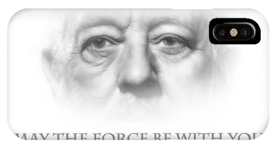 Star Wars Obi Wan Kenobi Movie Legend Star Famous Force Luke Skywalker Darth Wader Pencil Drawing Eyes Face Portrait Expressionism IPhone X / XS Case featuring the painting May The Force Be With You by Steve K