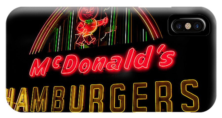 Hamburgers IPhone X Case featuring the photograph Mcdonalds Sign by Ronald Grogan