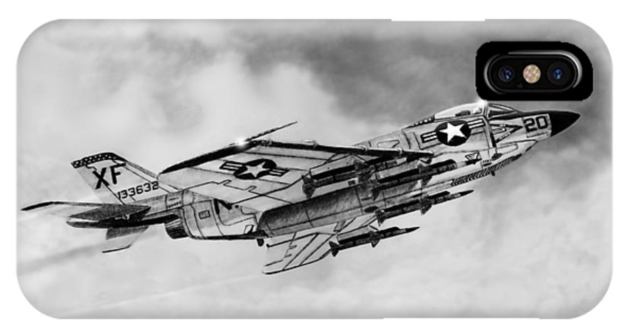Aircraft IPhone X / XS Case featuring the drawing Mcdonnell Demon by Douglas Castleman