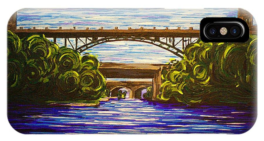 Mcquesten IPhone X Case featuring the painting Mcquesten High Level Bridge Hamilton On by Bridget Brummel