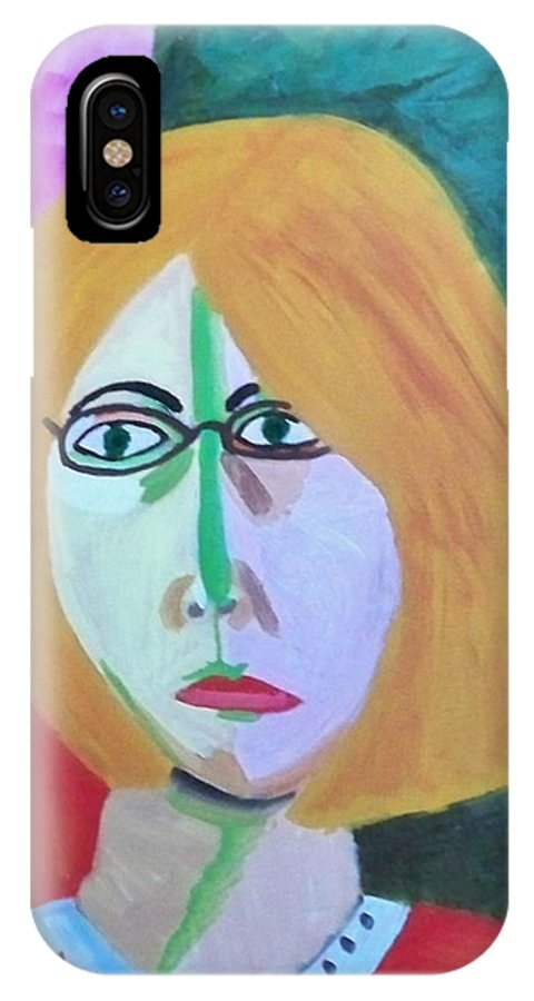Self Portrait IPhone X Case featuring the painting Me As The Green Stripe by Debra Organ