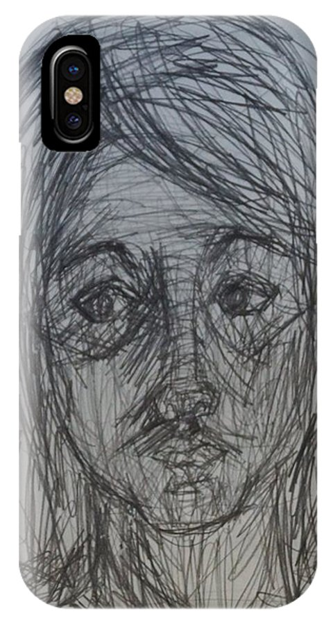 Portrait IPhone X Case featuring the drawing Me by Erika Chamberlin