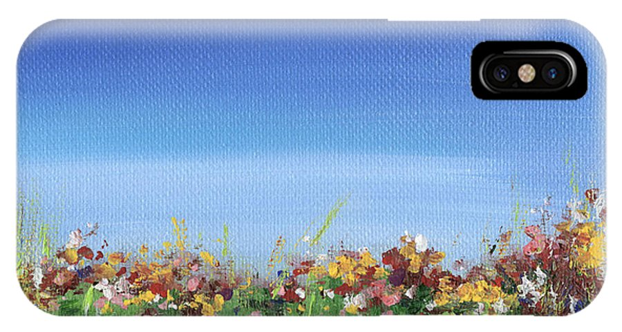 Field IPhone X Case featuring the painting Meadow by Natasha Denger