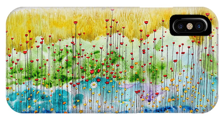 Meadow IPhone X Case featuring the painting Meadow by Studio A