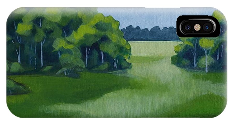 Trees IPhone X Case featuring the painting Meadow Walk by Annie Pierson