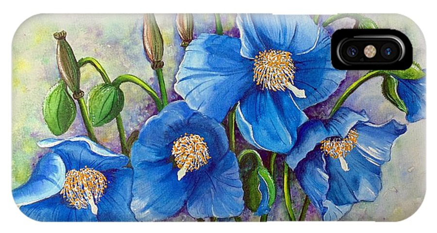 Blue Hymalayan Poppy IPhone X Case featuring the painting MECONOPSIS  Himalayan Blue Poppy by Karin Dawn Kelshall- Best