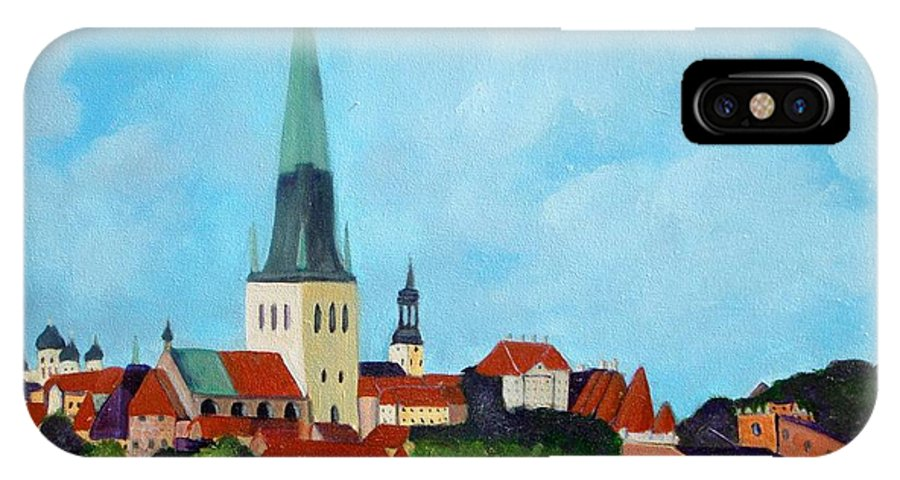 Tallinn IPhone X Case featuring the painting Medieval Tallinn by Laurie Morgan