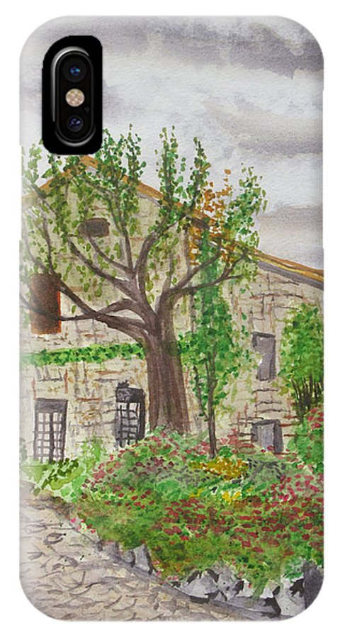 European Villages IPhone X Case featuring the painting Medieval Village In France 2012 by Janine Boyer
