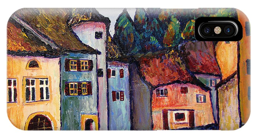Medieval IPhone Case featuring the painting Medieval Village Of St. Ursanne Switzerland by Art Nomad Sandra Hansen