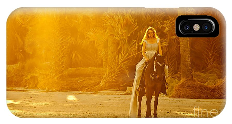 Beach IPhone X Case featuring the photograph Medieval Woman On Horseback by John Wollwerth