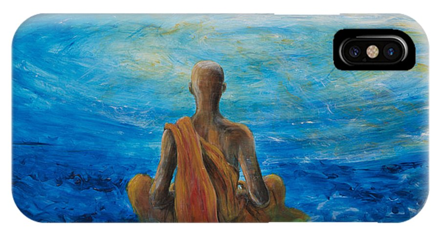 Monk IPhone X Case featuring the painting Meditation by Nik Helbig