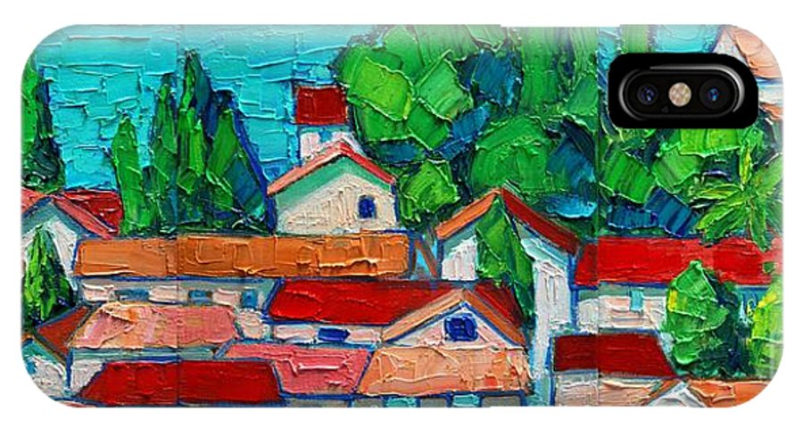 Sveti IPhone X Case featuring the painting Mediterranean Roofs 1 2 3 by Ana Maria Edulescu