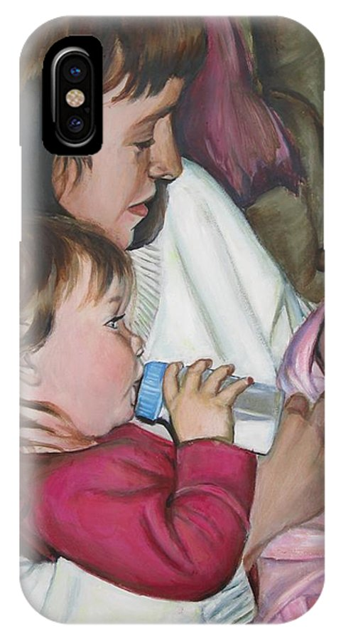 Cousin IPhone X Case featuring the painting Meeting Vanessa by Sheila Diemert