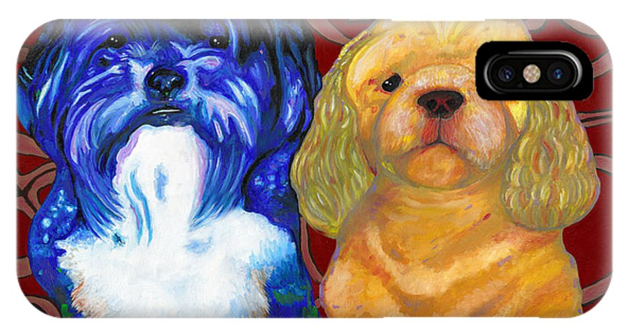 Dog IPhone X Case featuring the painting Mei-mei And Honeybear by Bronwen Skye