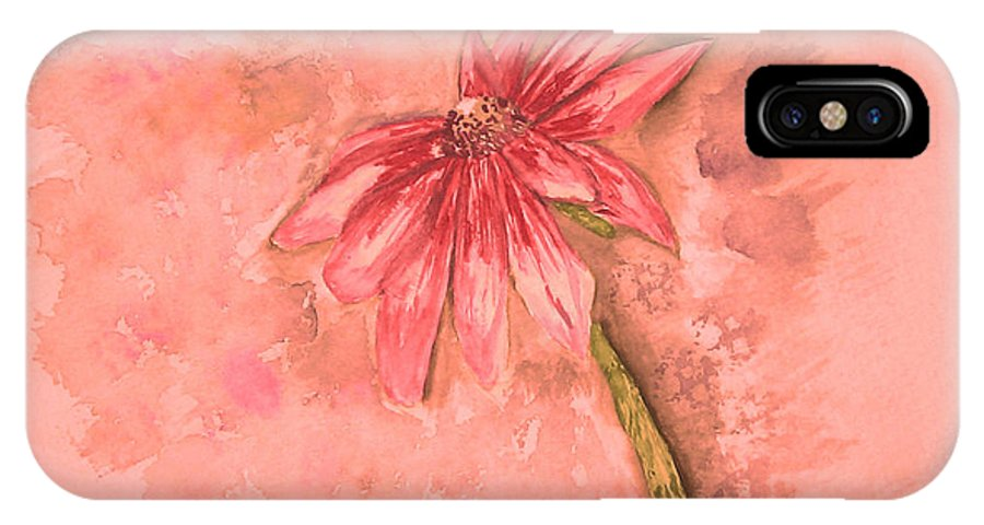 Watercolor IPhone X Case featuring the painting Melancholoy by Crystal Hubbard