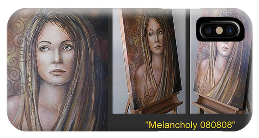 Original Painting IPhone X Case featuring the painting Melancholy 080808 Comp by Selena Boron